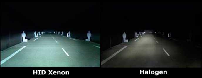 HIDライトとハロゲンライトの視界の違い
