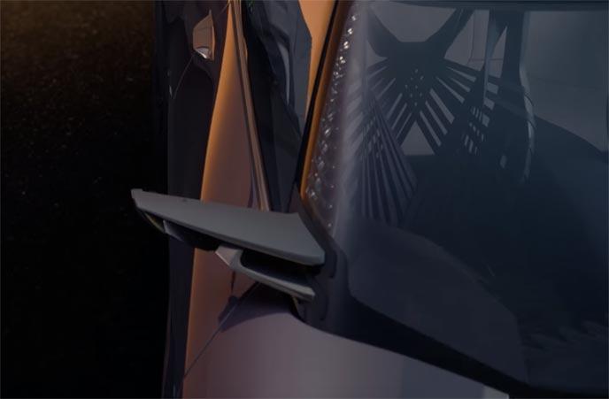 小型化されたレクサスUXのサイドミラー