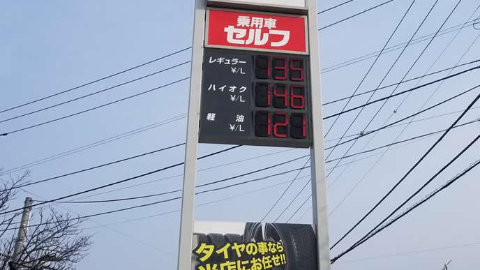 エンジンオイル交換をしているガソリンスタンド