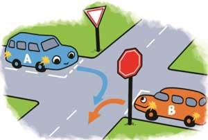 道を譲る自動車