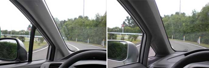ピラーに三角窓を付けている車