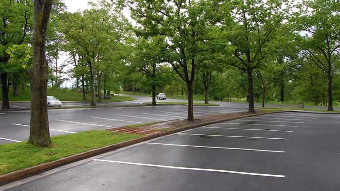 郊外にある緑豊かな駐車場