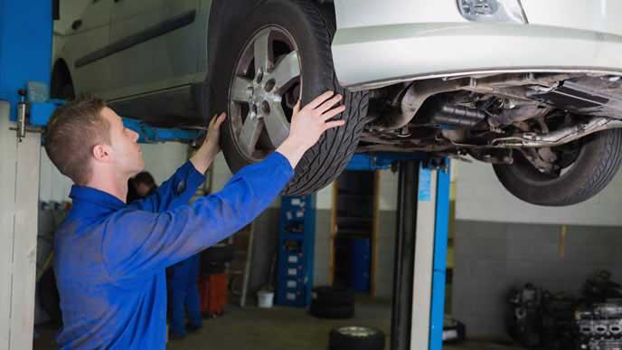 タイヤ交換中の自動車整備士