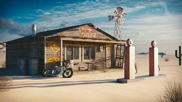 海外の寂れたガソリンスタンド