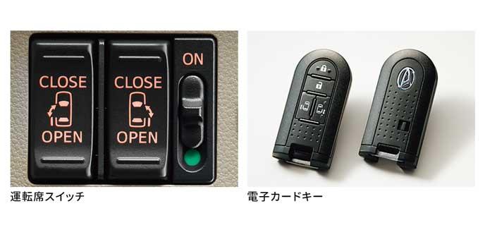 運転席のパワースライドドアスイッチ