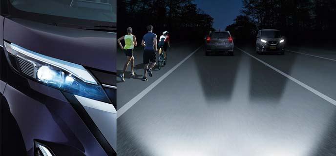 日産ルークスのアダプティブLEDヘッドライトシステム