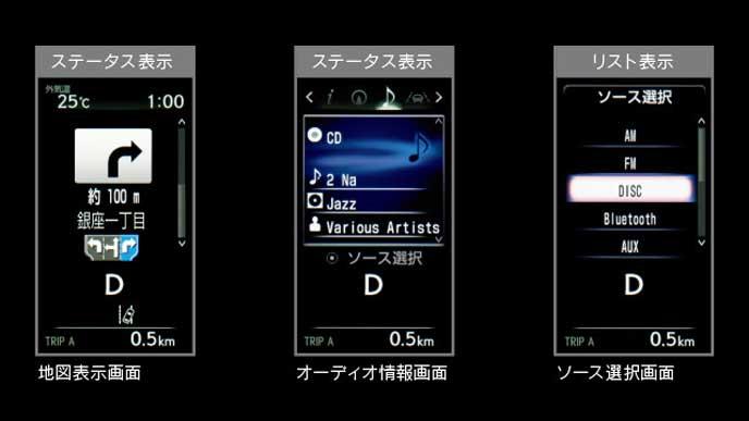 新型レクサスRXの4.2インチマルチインフォメーションディスプレイ