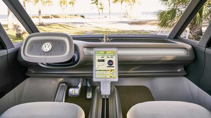 VWの新型EV車ID BUZZのコクピット