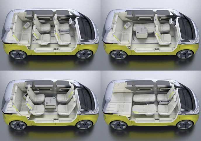 VWの新型EV車ID BUZZのシートアレンジ
