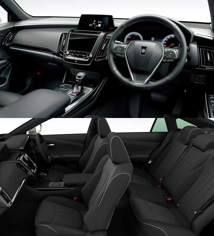 ブランノーブ+合成皮革のブラック内装のトヨタ新型クラウン