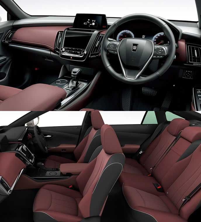 ブランノーブ+合成皮革のブラック&テラロッサ内装のトヨタ新型クラウン