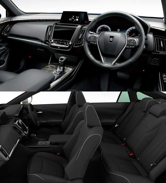 本革のブラック内装のトヨタ新型クラウン