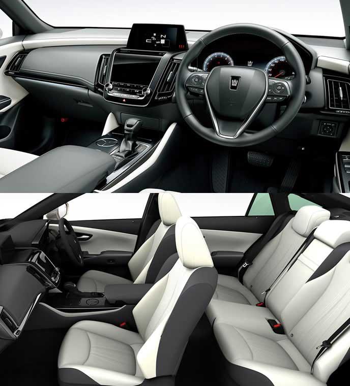 本革のホワイト内装のトヨタ新型クラウン