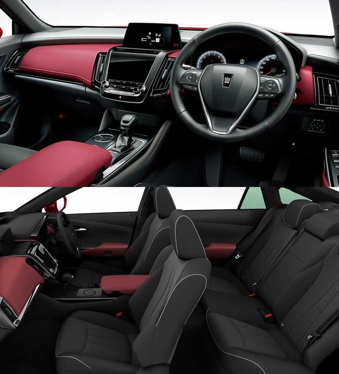 ブランノーブ+合成皮革の赤い内装のトヨタ新型クラウン