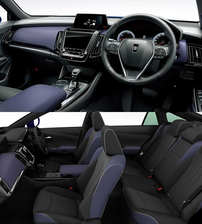 ブランノーブ+合成皮革の青い内装のトヨタ新型クラウン