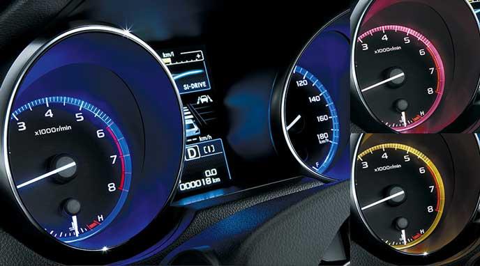 新型レガシィB4 Limitedの全10色のメーターリング照明