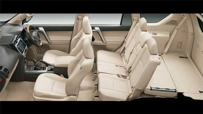 サードシート両側フロア格納状態の新型プラド
