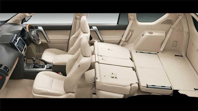 セカンドシート前倒し+サードシート両側フロア格納状態の新型プラド