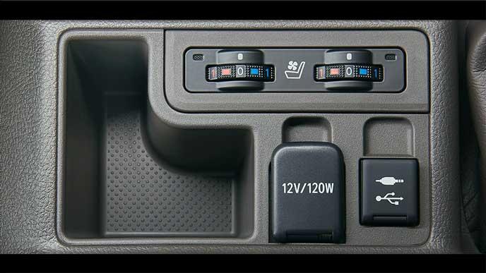 新型プラドの12V電源とUSBソケット