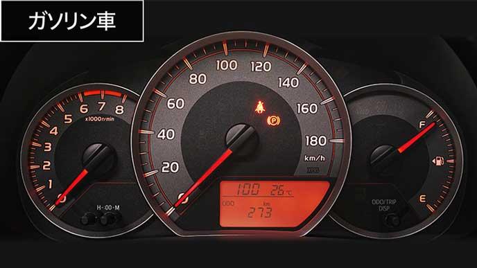 ヴィッツGRスポーツガソリンモデルのメーターパネル