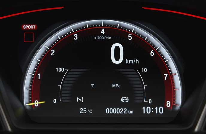 新型シビック タイプRのブレーキ圧計とアクセル開度計