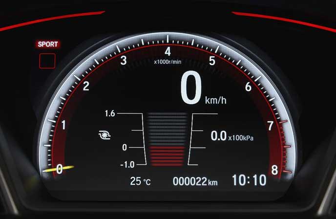 新型シビック タイプRのブースト圧計