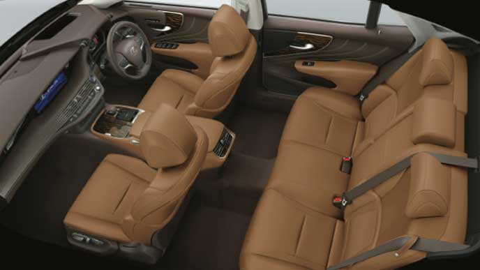レクサス新型LSの内装色 本革とセミアニリン本革 トパーズブラウン