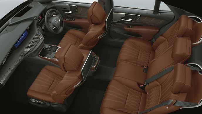 レクサス新型LSの内装色 L-ANILINE本革 ブラウン
