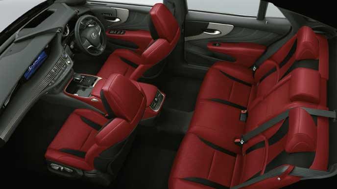 レクサス新型LSの内装色 ウルトラスエード フレアレッド