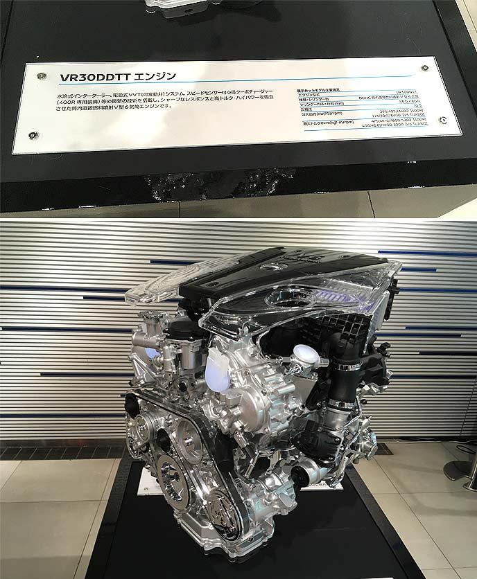 新型スカイラインは3.0L V6 ツインターボエンジン「VR30DDTT」を搭載