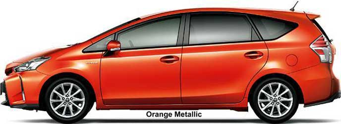 マイナーチェンジで廃止されたプリウスαのオレンジメタリック