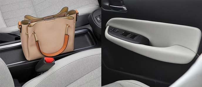 運転席と助手席の間に実用的なテーブルコンソールを用意。ドアトリムにはソフトパッドを採用