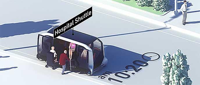 老人を乗せ、病院へ向かうe-Palette Concept