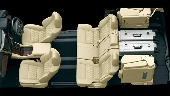 8人乗りモデルのシートアレンジ「5人乗車+荷室モード」