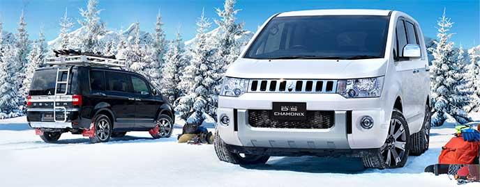 雪山で停車している黒と白のデリカD5