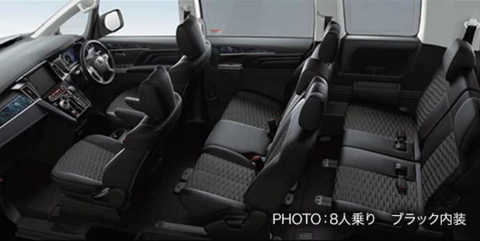 新型デリカD5アーバンギアなどの8人乗りブラック内装