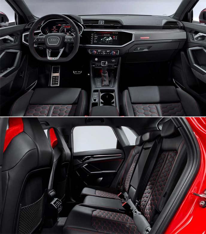 新型アウディRS Q3のコックピットとリアシート