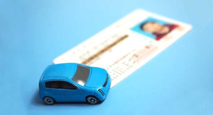 乗用車のミニチュアと運転免許