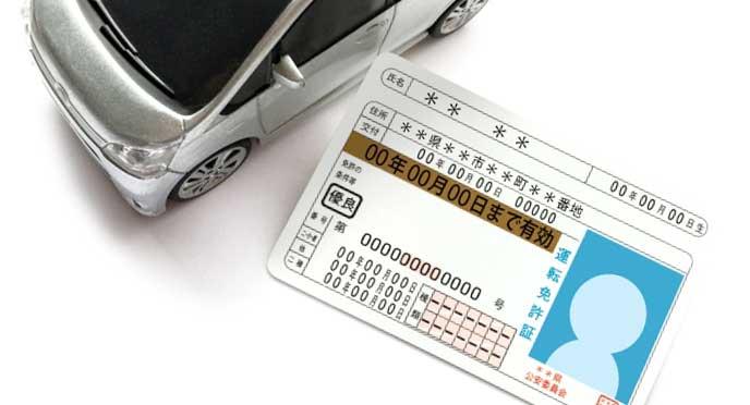 運転免許証と車のミニチュア