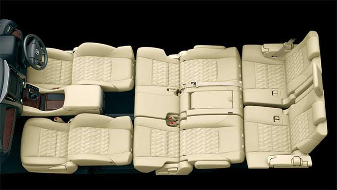 ヴェルファイア8人乗りモデルのフロント・セカンドフルフラットモード