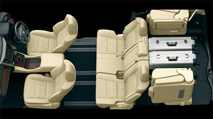 ヴェルファイア8人乗りモデルのシートアレンジ「5人乗車+荷室モード」