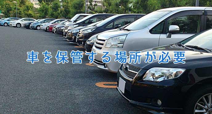 車が保管されている駐車場