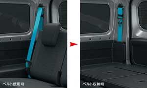 新型ジムニーシエラの脱着式後席シートベルト