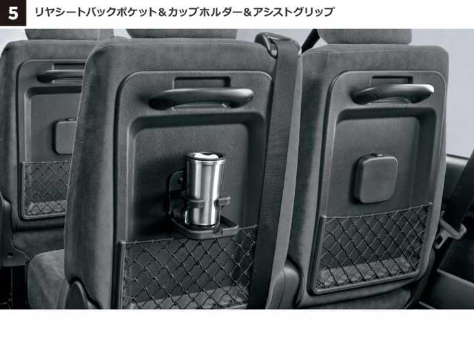 新型ハイエースワゴンのリヤシートバックポケット