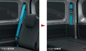 新型ジムニーの脱着式後席シートベルト