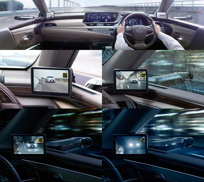 新型ESのデジタルアウターミラーの車内側の見え方
