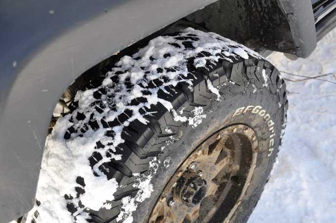 雪がついたオールテレーンタイヤ