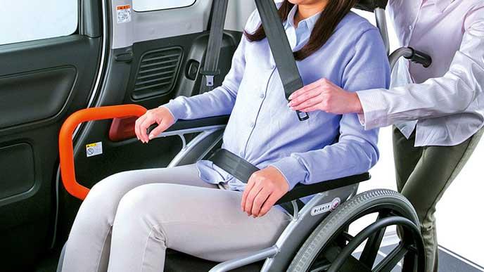 フレアワゴン車いす移動車の3点式シートベルト