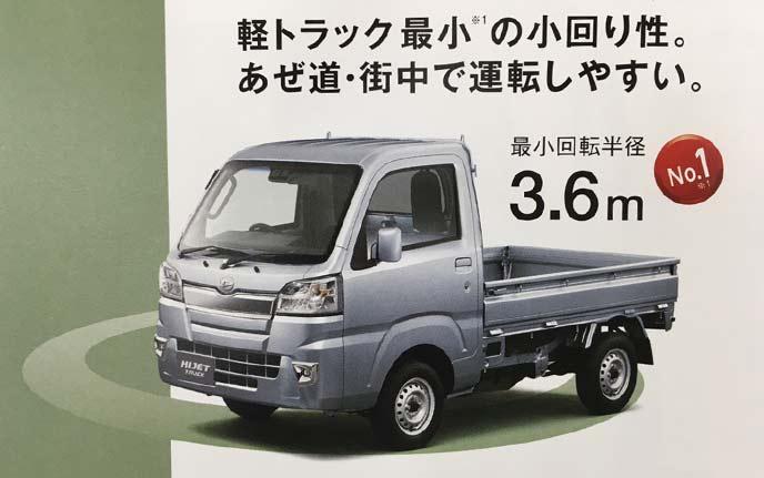 軽トラック最小回転半径のハイゼットトラック