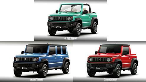 ジムニーのピックアップトラックや5ドアモデルのレンダリングが公開